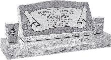 36inch x 10inch x 16inch Serp Top Slant Headstone polished front and back with 52inch base and two square tapered vases in Grey with design B-7, Sanded Panel