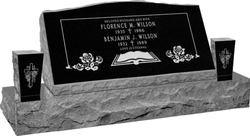 36inch x 10inch x 16inch Serp Top Slant Headstone polished front and back with 52inch base and two square tapered vases in Imperial Black with design F-119