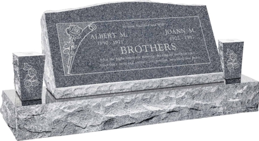 36inch x 10inch x 16inch Serp Top Slant Headstone polished front and back with 52inch base and two square tapered vases in Imperial Grey with design B-10
