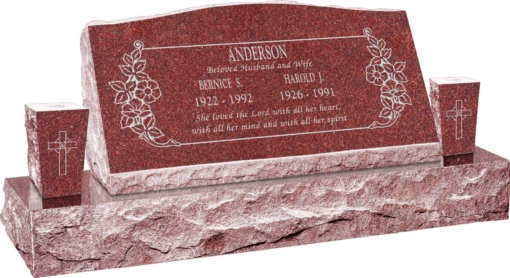 36inch_x_10inch_x_16inch_Serp_Top_Slant_Headstone_polished_front_and_back_with_52inch_base_and_two_square_tapered_vases_in_Imperial_Red_with_design_C-46