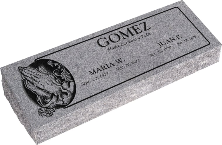 36inch x 12inch x 6inch Pillow Top Headstone in Grey with design AS-013