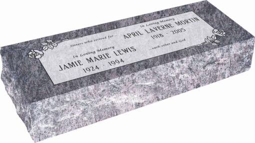 36inch x 12inch x 8inch Pillow Top Headstone in Bahama Blue with design SD-111 Sanded Panel