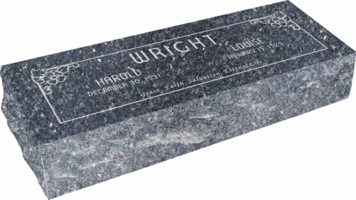 36inch x 12inch x 8inch Pillow Top Headstone in Blue Pearl with design SD-104