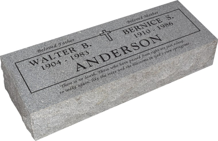 36inch x 12inch x 8inch Pillow Top Headstone in Grey with design B-0