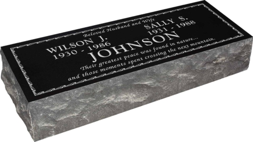 36inch x 12inch x 8inch Pillow Top Headstone in Imperial Black with design B-3