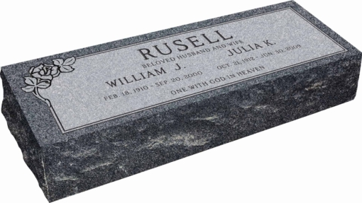36inch x 12inch x 8inch Pillow Top Headstone in Imperial Grey with design SD-101, Sanded Panel