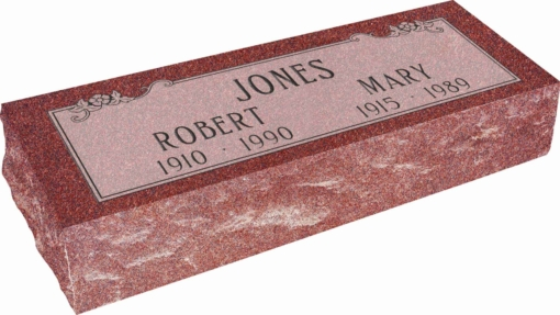 36inch x 12inch x 8inch Pillow Top Headstone in Imperial Red with design SD-103, Sanded Panel