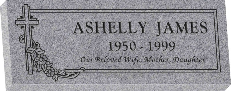 36inch x 14inch x 4inch Flat Granite Headstone in Grey with design SD-307