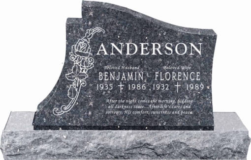 36 inch x 6 inch x 24 inch Princeton Upright Headstone polished all sides with 48 inch Base in Blue Pearl