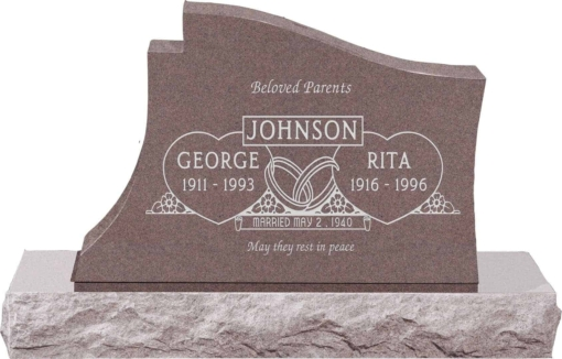 36 inch x 6 inch x 24 inch Princeton Upright Headstone polished all sides with 48 inch Base in Desert Pink