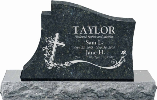36 inch x 6 inch x 24 inch Princeton Upright Headstone polished all sides with 48 inch Base in Emerald Pearl