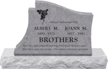 36 inch x 6 inch x 24 inch Princeton Upright Headstone polished all sides with 48 inch Base in Grey