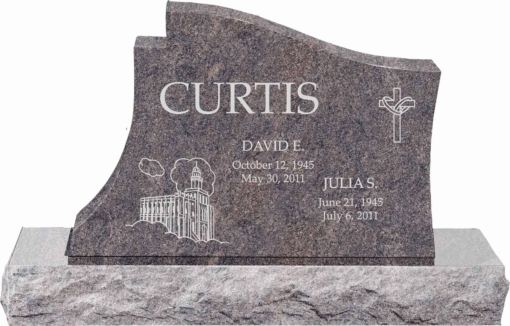 36 inch x 6 inch x 24 inch Princeton Upright Headstone polished all sides with 48 inch Base in Himalayan