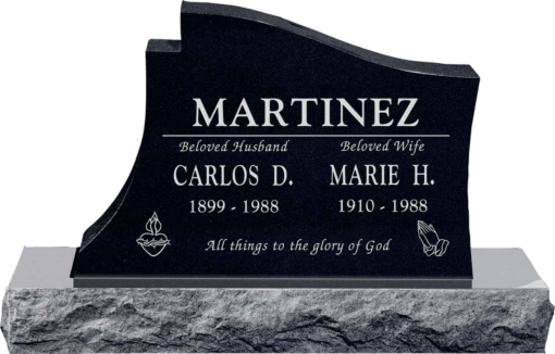 36 inch x 6 inch x 24 inch Princeton Upright Headstone polished all sides with 48 inch Base in Imperial Black