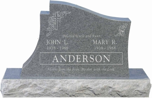 36 inch x 6 inch x 24 inch Princeton Upright Headstone polished all sides with 48 inch Base in Imperial Grey