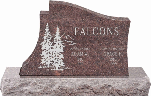 36 inch x 6 inch x 24 inch Princeton Upright Headstone polished all sides with 48 inch Base in Mahogany