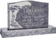 36 inch x 6 inch x 24 inch Serp Top Upright Headstone polished front and back with 48 inch Base in Bahama Blue with design H-102