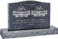 36 inch x 6 inch x 24 inch Serp Top Upright Headstone polished front and back with 48 inch Base in Blue Pearl with design B-020