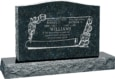 36 inch x 6 inch x 24 inch Serp Top Upright Headstone polished front and back with 48 inch Base in Emerald Pearl with design F-409