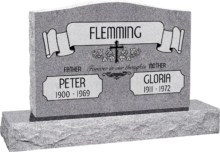 36 inch x 6 inch x 24 inch Serp Top Upright Headstone polished front and back with 48 inch Base in Grey with design AS-021 Sanded Panel