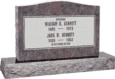 36 inch x 6 inch x 24 inch Serp Top Upright Headstone polished front and back with 48 inch Base in Himalayan with design F-102