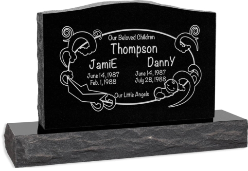 36 inch x 6 inch x 24 inch Serp Top Upright Headstone polished front and back with 48 inch Base in Imperial Black with design AS-004