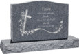 36 inch x 6 inch x 24 inch Serp Top Upright Headstone polished front and back with 48 inch Base in Imperial Grey with design AS-022