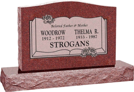 36 inch x 6 inch x 24 inch Serp Top Upright Headstone polished front and back with 48 inch Base in Imperial Red with design B-013 Sanded Panel
