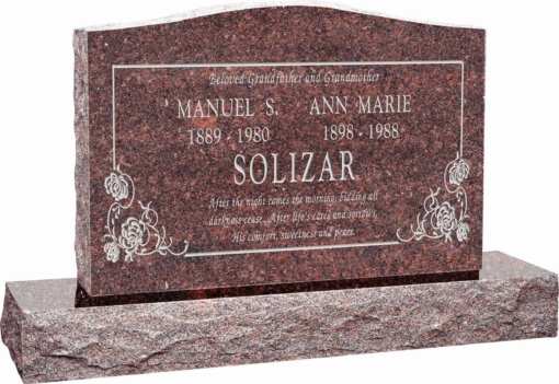 36 inch x 6 inch x 24 inch Serp Top Upright Headstone polished front and back with 48 inch Base in Mahogany with design B-05