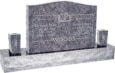 36 inch x 6 inch x 24 inch Serp Top Upright Headstone polished front and back with 60 inch Base and two square tapered Vases in Bahama Blue with design SD-905
