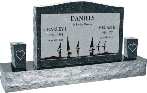 36 inch x 6 inch x 24 inch Serp Top Upright Headstone polished front and back with 60 inch Base and two square tapered Vases in Emerald Pearl with design SD-414 Sanded Panel