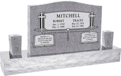 36 inch x 6 inch x 24 inch Serp Top Upright Headstone polished front and back with 60 inch Base and two square tapered Vases in Grey with design SD-902 Saned_Panel