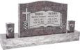 36 inch x 6 inch x 24 inch Serp Top Upright Headstone polished front and back with 60 inch Base and two square tapered Vases in Himalayan with design SD-332 Sanded Panel