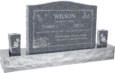 36 inch x 6 inch x 24 inch Serp Top Upright Headstone polished front and back with 60 inch Base and two square tapered Vases in Imperial Grey with design AS-009