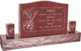 36 inch x 6 inch x 24 inch Serp Top Upright Headstone polished front and back with 60 inch Base and two square tapered Vases in Imperial Red with design AS-011
