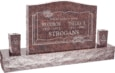 36 inch x 6 inch x 24 inch Serp Top Upright Headstone polished front and back with 60 inch Base and two square tapered Vases in Mahogany with design B-013