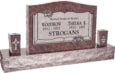 36 inch x 6 inch x 24 inch Serp Top Upright Headstone polished front and back with 60 inch Base and two square tapered Vases in Mahogany with design B-013 Sanded Panel