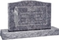 36 inch x 6 inch x 24 inch Serp Top Upright Headstone polished top front and back with 48 inch Base in Bahama Blue with design V-88