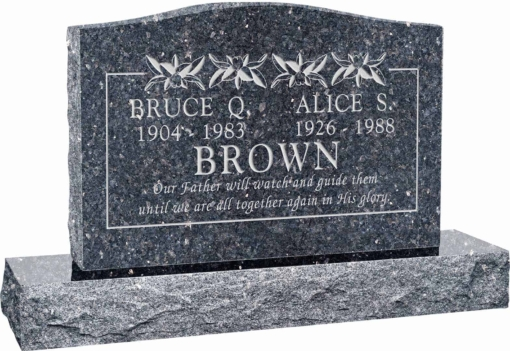 36 inch x 6 inch x 24 inch Serp Top Upright Headstone polished top front and back with 48 inch Base in Blue Pearl with design T-13