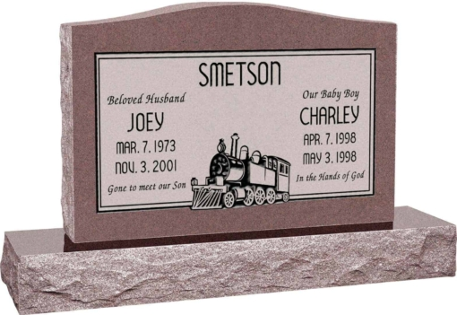 36 inch x 6 inch x 24 inch Serp Top Upright Headstone polished top front and back with 48 inch Base in Desert Pink with design SD-612 Sanded Panel