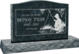36 inch x 6 inch x 24 inch Serp Top Upright Headstone polished top front and back with 48 inch Base in Emerald Pearl with design SD-608