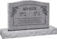 36 inch x 6 inch x 24 inch Serp Top Upright Headstone polished top front and back with 48 inch Base in Grey with design SD-114