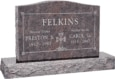 36 inch x 6 inch x 24 inch Serp Top Upright Headstone polished top front and back with 48 inch Base in Himalayan with design SD-906