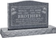 36 inch x 6 inch x 24 inch Serp Top Upright Headstone polished top front and back with 48 inch Base in Imperial Grey with design T-10