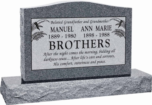 36 inch x 6 inch x 24 inch Serp Top Upright Headstone polished top front and back with 48 inch Base in Imperial Grey with design T-10 Sanded Panel