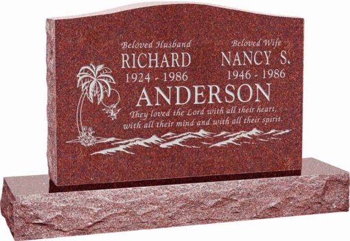 36 inch x 6 inch x 24 inch Serp Top Upright Headstone polished top front and back with 48 inch Base in Imperial Red with design T-02