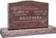 36 inch x 6 inch x 24 inch Serp Top Upright Headstone polished top front and back with 48 inch Base in Mahogany with design T-08