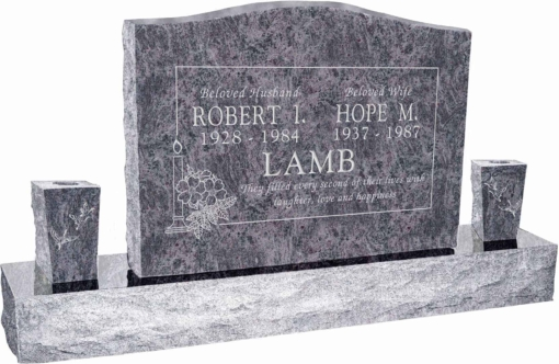36inch x 6inch x 24inch Serp Top Upright Headstone polished top, front and back with 60inch Base and two square tapered Vases in Bahama Blue with design B-15