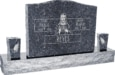 36inch x 6inch x 24inch Serp Top Upright Headstone polished top, front and back with 60inch Base and two square tapered Vases in Blue Pearl with design F-118
