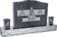 36inch x 6inch x 24inch Serp Top Upright Headstone polished top, front and back with 60inch Base and two square tapered Vases in Blue Pearl with design F-118 Sanded Panel